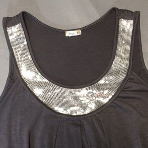 Silver sequined banded tank top